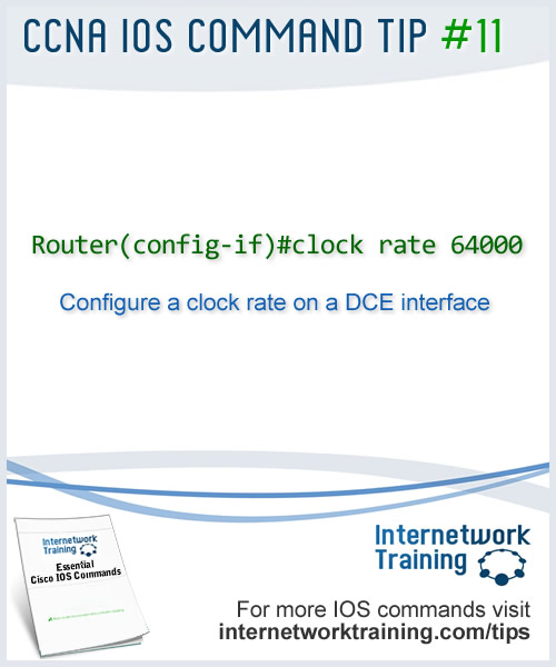 IOS command to configure a clock rate on a DCE router interface